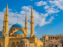 Mohammad Al-Amin Mosque in Beirut, Lebanon. View of the Mohammad Al-Amin Mosque in Beirut, Lebanon Royalty Free Stock Images