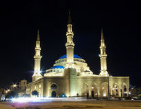 Mohammad al Amin mosque in central beirut lebanon at night. Mohammad al Amin mosque landmark in central beirut lebanon at night Stock Image
