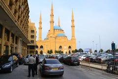 Mohammad Al-Amin Mosque i i stadens centrum Beirut, Libanon Royaltyfri Fotografi
