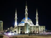 Mohammad Al Amin Mosque landmark in central Beirut city lebanon. At night Royalty Free Stock Photos