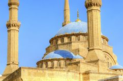 Mohammad Al-Amin Mosque. The Mohammad Al-Amin Mosque situated in Downtown Beirut, in Lebanon. It is a beautiful structure, picturesque architecture, with blue Royalty Free Stock Image