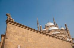 Mohammed Ali of Albasten Moskee, Saladin Citadel, onconventioneel de hoekschot van Kaïro, Egypte Stock Afbeeldingen