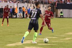Mohammed Salah #11of Liverpool FC in action against Manchester City during 2018 International Champions Cup game. EAST RUTHERFORD, NJ - JULY 25, 2018: Mohamed stock images