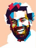 Mohammed Salah w wystrzał sztuki portrecie ilustracji