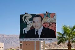 Mohammed VI of Morocco. Morocco: Mohammed VI of Morocco portrait on the road panel. Mohammed VI is the current King of Morocco. He acceded to the throne on 23 Royalty Free Stock Images