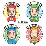 Mohammedaanse etiketten met de stijl van de beeldverhaalillustratie stock foto's