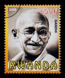 Mohandas Karamchand Gandhi Postage Stamp. RWANDA - CIRCA 2009: A postage stamp printed in Rwanda showing Mohandas Karamchand Gandhi, circa 2009 Royalty Free Stock Image