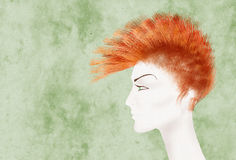 Mohawk hair. Beatiful androgynous mannequin with mohawk hair collage Royalty Free Stock Photo