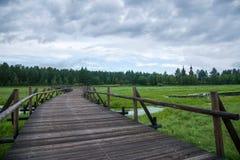 Mohe Arctic Village national park north of Lake bridges month Royalty Free Stock Photo