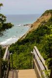 Mohegan Bluffs, Blokeiland, Rhode Island Royalty-vrije Stock Foto