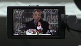 MOHELNICE, ЧЕХИЯ, 9-ОЕ НОЯБРЯ 2017: Президент Milos Zeman чехии навещая Mohelnice, президент сток-видео