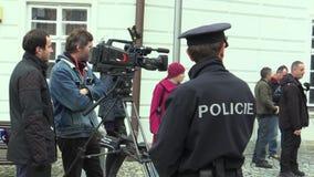 MOHELNICE, ЧЕХИЯ, 9-ОЕ НОЯБРЯ 2017: Президент Milos Zeman чехии посещая Mohelnice в акции видеоматериалы
