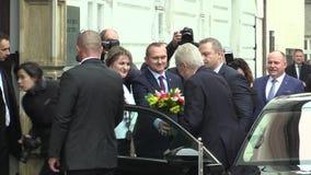 MOHELNICE, REPÚBLICA CHECA, EL 9 DE NOVIEMBRE DE 2017: Presidente de la República Checa Milos Zeman que visita Mohelnice en metrajes