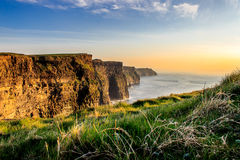 Moher峭壁与低太阳的 免版税图库摄影