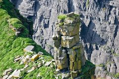 Moher峭壁,岩层细节照片,县克莱尔,爱尔兰 免版税库存图片
