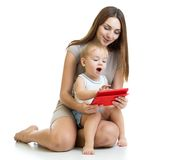 Moher and son kid play with tablet computer Royalty Free Stock Photo