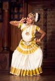 Mohinyattam dance in Fort Cochin, India. COCHIN, INDIA - JANUARY 21, 2016: Beautiful Indian girl dancing Mohinyattam Dance of enchantress in Fort Cochin Stock Photography