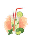 Mojito with lime and mint. Hand-drawn illustration of mojito with lime and mint on orange watercolor background Stock Photography