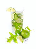 Mohito mojito drink with lime and mint Stock Photos