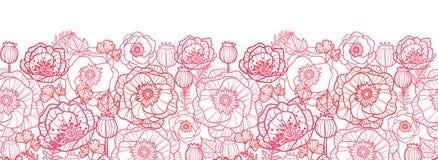 Mohnblume blüht Linie horizontales nahtloses Muster der Kunst Lizenzfreies Stockfoto
