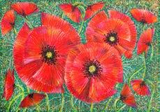 Mohnblumeblüten der grafischen Kunst auf grünem Hintergrund lizenzfreie stockfotos