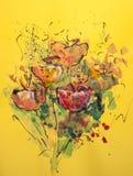Mohnblumen auf farbiger Pappe Lizenzfreie Stockbilder