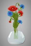 Mohnblumen und Kornblumen im Vase Stockbilder