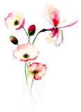 Mohnblumen- und Lilienblumen Lizenzfreie Stockfotografie