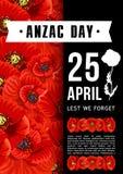 Mohnblumen-Vektorkarte Anzac Day Australian-Gedächtnisses rote Lizenzfreies Stockbild