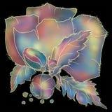 Mohnblumenblume von violetten und blauen T?nungen auf schwarzem Hintergrund lizenzfreie stockfotos