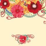 Mohnblumenblumenkarte, Einladungsdesign Lizenzfreie Stockbilder