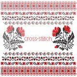 Mohnblumenblumenstrauß-Kreuzstichstickerei Stockfoto