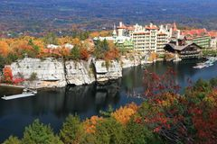 Mohonk Lake and Mountain House Royalty Free Stock Photography