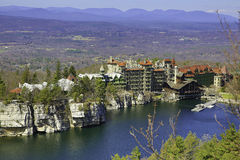 The Mohonk Mountain House. Also known as Lake Mohonk Mountain House, is a historic American resort hotel located on the Shawangunk Ridge in Ulster County, New royalty free stock photography