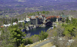 The Mohonk Mountain House. Also known as Lake Mohonk Mountain House, is a historic American resort hotel located on the Shawangunk Ridge in Ulster County, New royalty free stock images