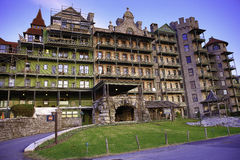 The Mohonk Mountain House Front Entrance. The Mohonk Mountain House, also known as Lake Mohonk Mountain House, is a historic American resort hotel located on the stock photography