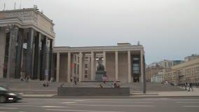 Mohovayastraat, Bibliotheek van Lenin moskou stock video