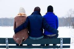 Moi et mes amies dans l'hiver Photographie stock libre de droits