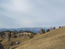 Moieciu de Jos, landscape. View of Piatra - Craiului Romanian Mountains from Moieciu de Jos Stock Photo