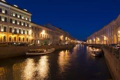 Moika-Damm nachts, St Petersburg, Russland Lizenzfreies Stockfoto
