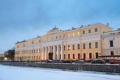 The Moika Palace or Yusupov Palace, literally the Palace of the Yusupovs on the Moika in the winter night. St. The Moika Palace or Yusupov Palace, literally the Stock Images