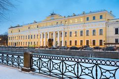 The Moika Palace or Yusupov Palace, literally the Palace of the Yusupovs on the Moika in the winter night. St. The Moika Palace or Yusupov Palace, literally the Stock Photo