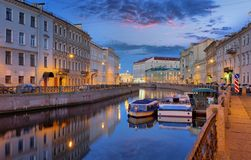 Moika river before dawn in St. Petersburg. Summer panorama of the embankment of the Moika river before dawn in St. Petersburg Stock Images