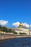 Moika River and dome of the Saint Isaac's Cathedral  in Saint Pe Stock Photography