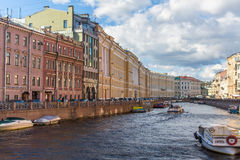The Moika river embankment encircles the central portion of St Petersburg Royalty Free Stock Photography