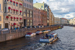 The Moika river embankment encircles the central portion of St Petersburg Stock Images