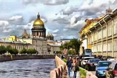 Moika river embankment and St. Isaac`s Cathedral stock illustration
