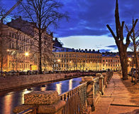 Moika River Embankment in St. Petersburg. Night panorama Moika River Embankment in St. Petersburg Royalty Free Stock Photo