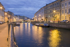 Moika River near The Nevsky Avenue, Saint-Petersburg, Russia. Night view Royalty Free Stock Image