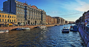 The Moika River in St. Petersburg. Moika River panorama at sunset in St. Petersburg Royalty Free Stock Photos